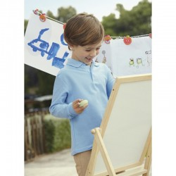photo of boy with blue long sleeve polo shirt to print at marcate.net