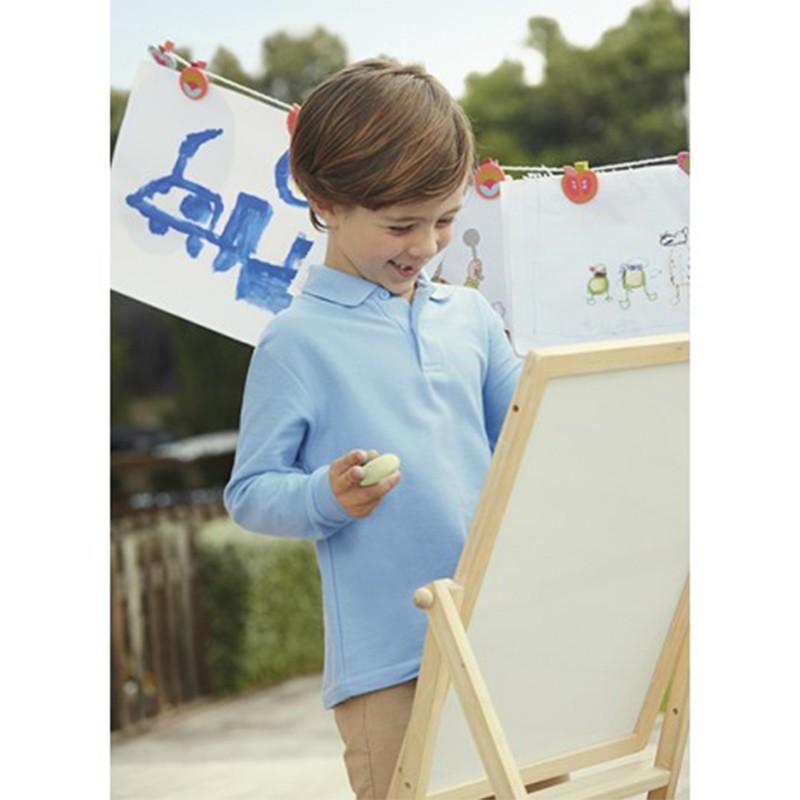 foto de niño con polo de manga larga azul para imprimir en marcate.net