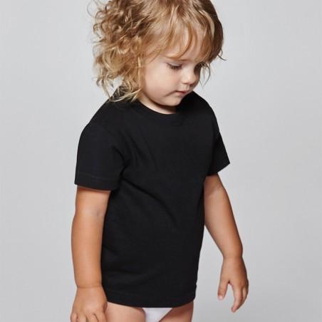 foto de bebé con camiseta de manga corta negra para personalizar en marcate.net
