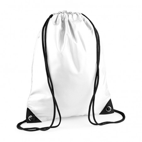 Photo of white polyester drawstring backpack to customize on marcate.net