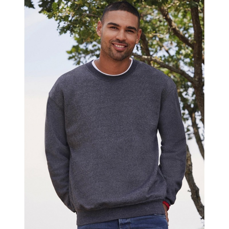 Model photo with gray mounted sleeve sweatshirt to personalize at marcate.net