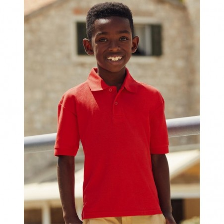 photo of boy with boy's short-sleeved polo shirt to personalize at marcate.net