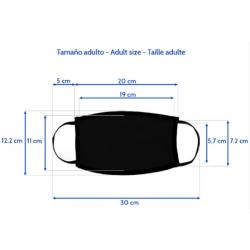 Medidas detalladas de la mascarilla negra para personalizar