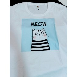 Women's direct print white striped cat meow personalized t-shirt
