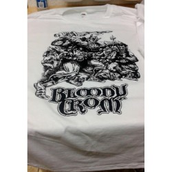 fruit of the loom custom serigraph solid color bloody crom t-shirt