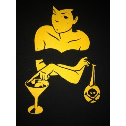"serigraphy yellow color cocktail inferno design ""Bodega Valero"""
