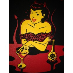 """serigraphy personalized t-shirt marcate.net two colors inferno cocktail design """"Bodega Valero"""""""