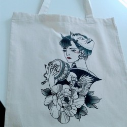 Personalized tote bag with direct printing oriental illustration Valencia Marcate.net
