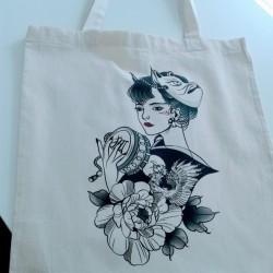 Bolsa tote bag personalizada con impresion directa ilustracion oriental Valencia Marcate.net