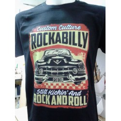 black t-shirt with direct print rockabilly rock and roll design