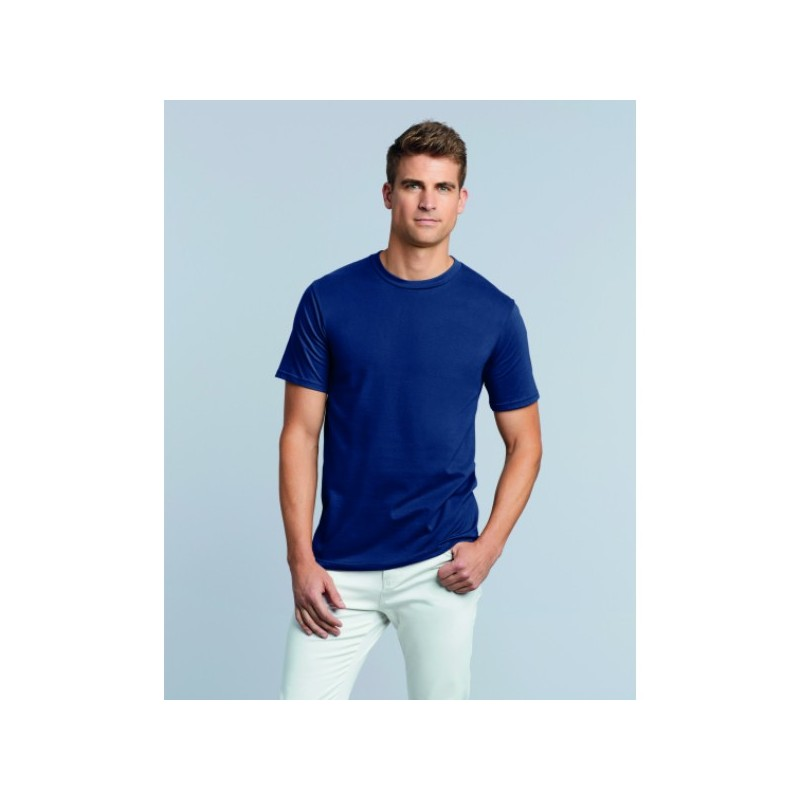 photo of boy with premium blue Gildan t-shirt to personalize at marcate.net