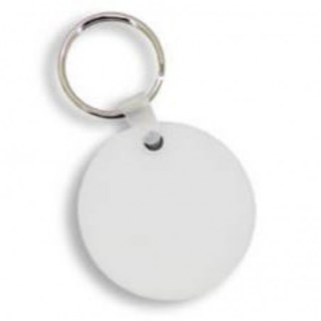 photo of white round key ring to personalize on one side at marcate.net