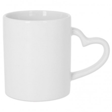 Photo of white mug with heart shaped handle to personalize at marcate.net