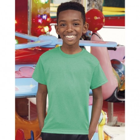 photo of boy with basic short-sleeved shirt resistant retro color heather green to personalize at marcate.net