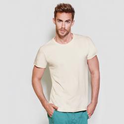 foto de modelo con camiseta de manga corta de color natural para personalizar en marcate.net