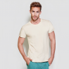 photo of model with natural color short sleeve t-shirt to personalize at marcate.net