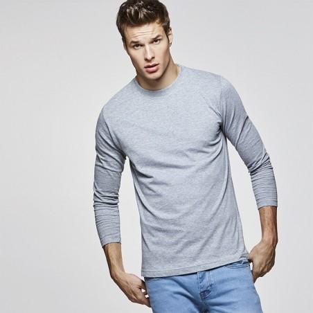 chico con camiseta de manga larga heather grey para personalizar en marcate.net