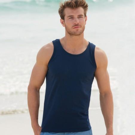 foto de chico con camiseta de tirantes azul marino para personalizar en marcate.net