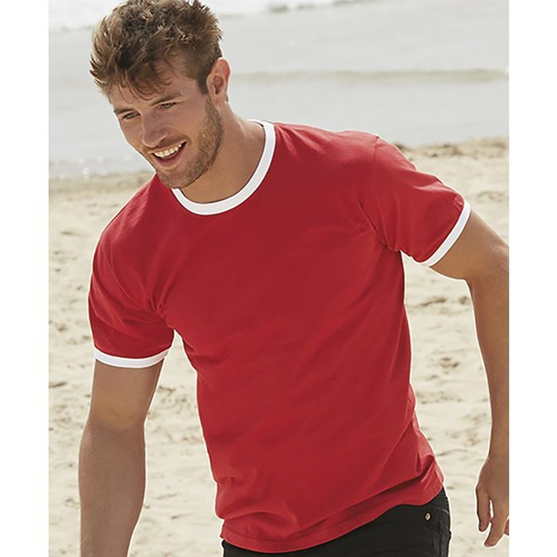 photo of model boy with red ringer t-shirt and white trim to personalize at marcate.net