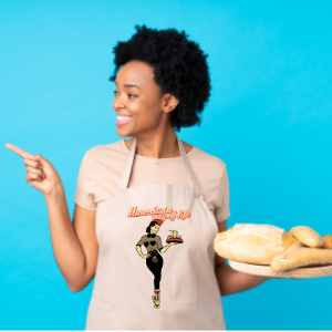 Girl cooking with a personalized apron with a design by Anhell Muñoz