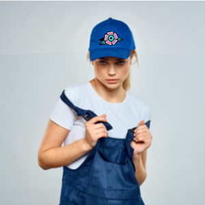 photo of blonde girl with a personalized cap