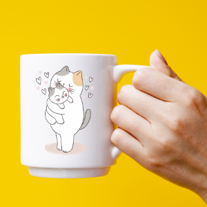 photo in yellow cup tones printed with a photo of kittens