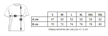 Measurements of the shirt to customize men's organic cotton