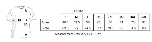 tabla de medidas de la camiseta premium de manga corta para personalizar en marcate.net