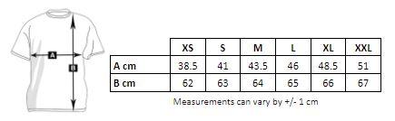 Measurements Women's T-shirt personalized wide straps