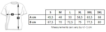 Measurements of the personalized ringer men's T-shirt