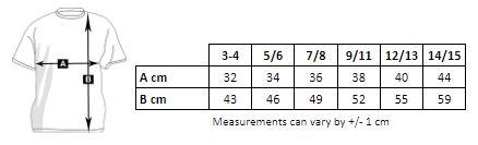 tabla de medidas de la camiseta de niña para personalizar en marcate.net