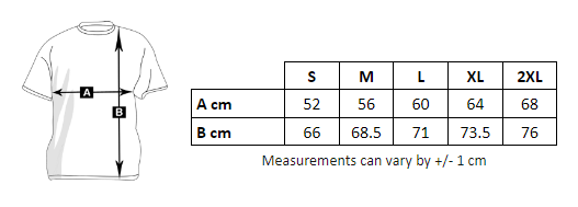 Tabla de medidas de la sudadera con cremallera y capucha de hombre para imprimir