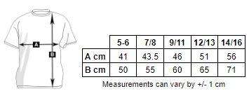 tabla de medidas de la sudadera con capucha de niño para personalizar en marcate.net