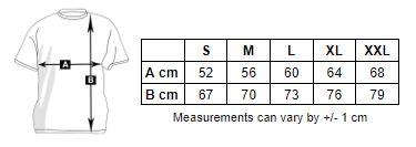 Image of men's zip hoodie size chart