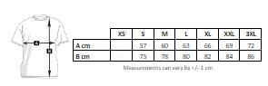 tabla de medidas de la chaqueta acolchada de hombre para personalizar en marcate.net