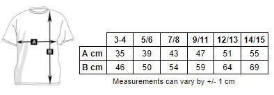 Measurement chart of the boy's long-sleeved polo shirt to personalize at marcate.net
