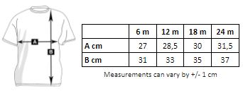 size chart of the short-sleeved baby t-shirt to customize on marcate.net